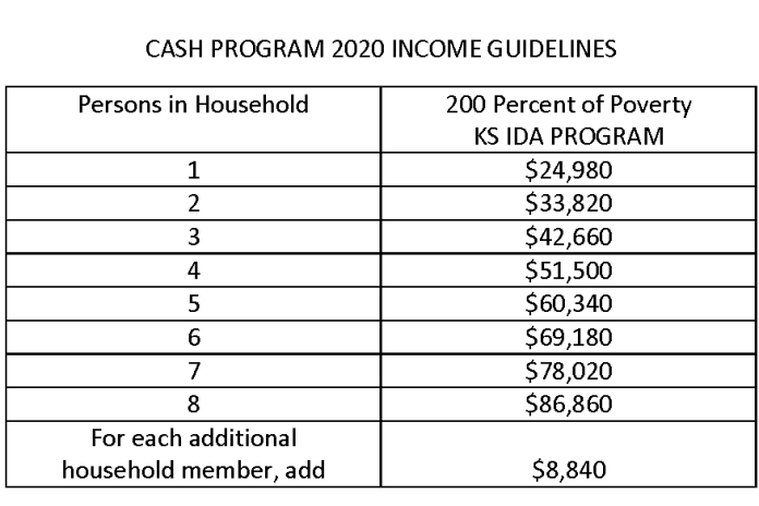2020 Income Guidelines-CASH